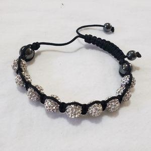 🎁 Silver White Rhinestone Ball String Bracelet